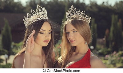 Two young winners of the beauty contest in the crown in the...