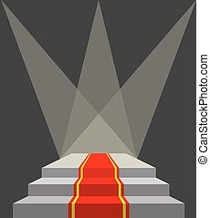 With a red carpet. Podium and searchlights. Lighting of the pedestal. Vector illustration does not contain transparency effects and overlay