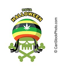 Rasta Halloween Night. Skull addict with dreadlocks and...
