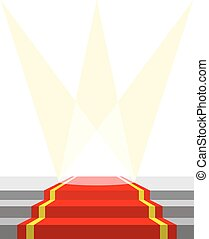 Red carpet for VIP persons, and lighting. Vector...