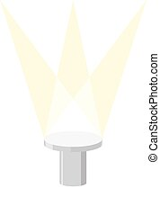 Round Pedestal on a white background, with light illuminator. Vector illustration of a podium.