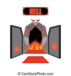 Gate to hell. Entrance to hellish Inferno. Access to Satan. Flames for combustion of sinners. Welcome to hell. Black iron open door in purgatory. Scary door with skull and horns of vector illustration.