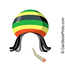 Rasta Cap with dreadlocks on white background. Spliff...