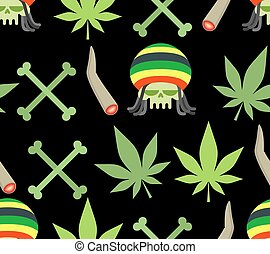 Jamaica drugs seamless pattern. Rasta skull and leaf...