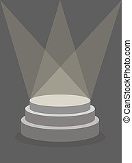 Round Pedestal on a dark background, illuminated by floodlights. Platform for  winner. Place  template for  item. Vector illustration does not contain transparency and overlay.