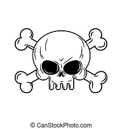 Skull with bones. Pirates sign vector illustration. Head skeleton on a white background.