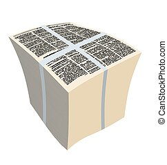 Bundle newspapers. Stack of magazines. Vector illustration