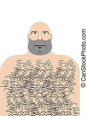 Man with bald head. Hillbilly with hairy chest. Vector...