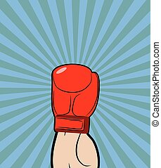 Hand in Boxing Glove. Winner, boxing champion raised his hand up-a symbol of victory. Vector illustration on theme of sport.