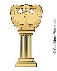 Torso bodybuilder on column pedestal. Classic antique sculpture. Vector illustration part of an ancient Greek temple.