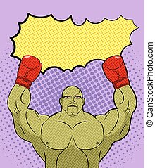 Green big Boxer Monster pop art with an empty bubble text. Goblin Winner, champion Galaxy MMA boxing. Vector Retro illustration comics.