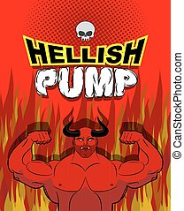 Hellish pump. Satan bodybuilder with huge muscles. Workout...