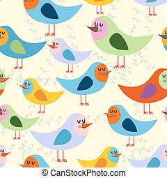 Birds seamless pattern. Vector background of lovely colored...