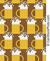 Beer seamless pattern. Beer mug vector background. Mug with foam-based alcoholic drink. Vector ornament.