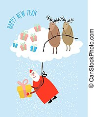 Santa Claus comes down on a rope and gives a gift. Deer on...
