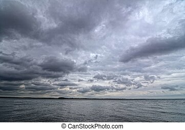 Volga River - Dark cloudy sky on the Volga River
