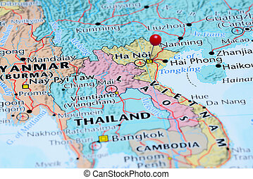Hanoi pinned on a map of Asia - Photo of pinned Hanoi on a...