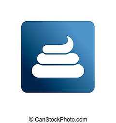 Turd flat Web icon. Shit on a blue background. Social networking icons.