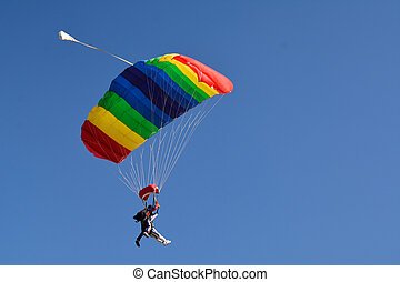People jumping with the parachute