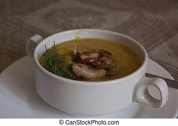 蔬菜, 湯, 碗, 火腿, 含奶油