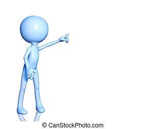 3d man pointing finger at blank