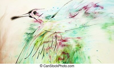Water painting of a bird - Water painting of a flying bird...