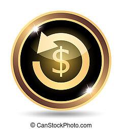 Refund. Internet button on white background.