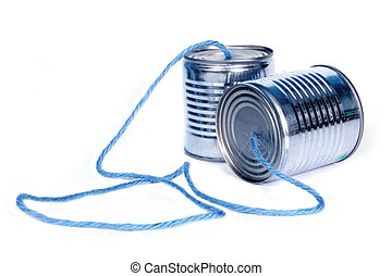 can telephones - ancient communication - cans connected by...