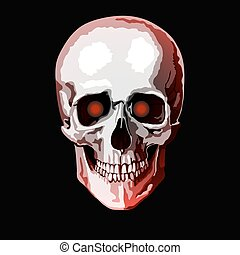 red skull - red human skull vector illustration