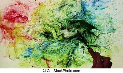 Abstract water painting on a colorful vivid background Ebru...