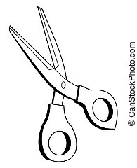 scissors, office tool - outline illustration of scissors,...