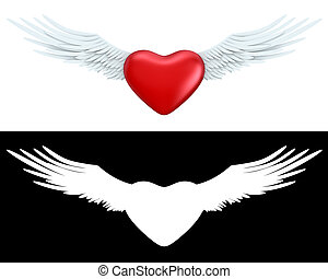 Winged heart - Love, valentine day series; 3d objects with...
