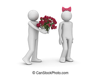 Man giving flowers