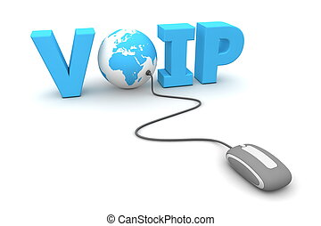 Browse the VOIP World - modern grey computer mouse connected...
