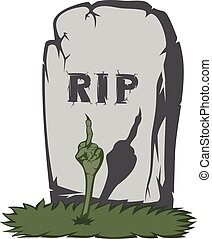 Spooky tombstone - A gray gravestone with grass and RIP text...