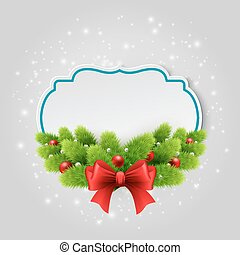 Christmas paper card. Winter background Vector illustration.