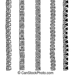 Vector seamless black and white  ethnic pattern hand drawn
