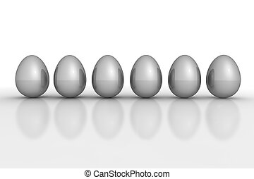 Six Grey Metallic Eggs in a Line