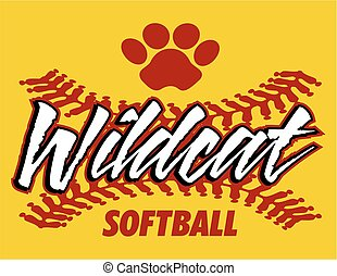 wildcat softball - wildcat team softball design with red...