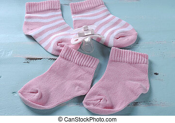 Baby girl nursery pink and white stripe socks