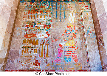 Wall Paintings in Temple of Hatshepsut in Egypt - Ancient...
