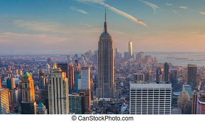 Zoom, nightfall in New York - Zoom out of nightfall in the...