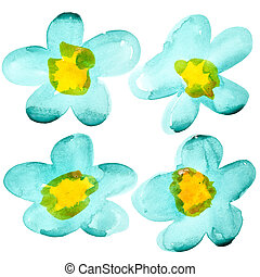 Watercolor flowers isolated over the white background