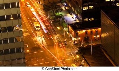 Zoom out of Night Traffic, New York