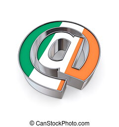 AT National - Ireland - silver shiny chrome @ AT symbol on...