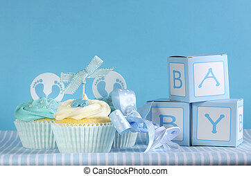 Blue theme baby boy three cupcakes and baby favour gift...