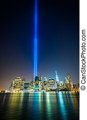 The Tribute in Light over the Manhattan Skyline at night,...