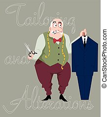 Tailor - Cartoon tailor with scissors, measuring tape and...
