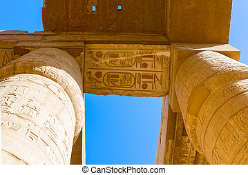 Karnak Temple, Luxor, Egypt - Pillars of the Karnak temple,...