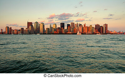 NYC - Manhattan cityscape during sunset, photo taken from...